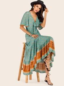 71c2c392ced Ditsy Floral Tie Front Ruffle Hem Maxi Dress
