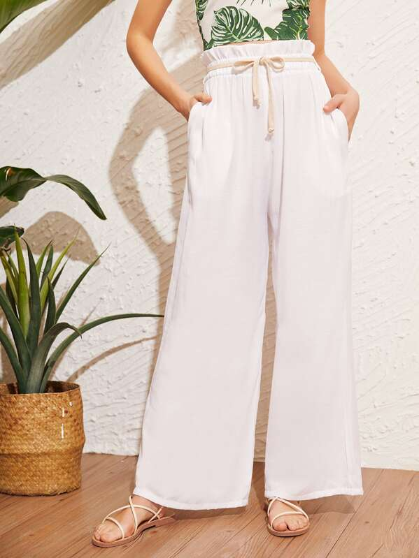 Paperbag Belted Wide Leg Pants by Sheinside