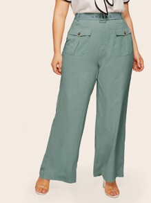 Plus Wide Leg Belted Pants