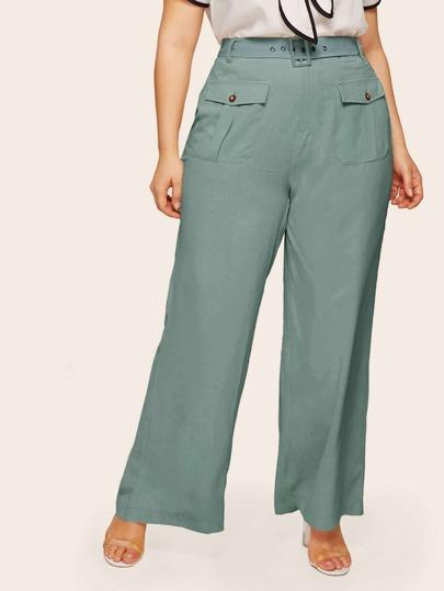 8882083e2d6 Plus Wide Leg Belted Pants