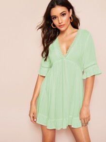 Deep V Neck Lace Insert Ruffle Hem Dress