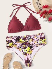 Plus Scalloped Trim Halter Top With Floral Bikini