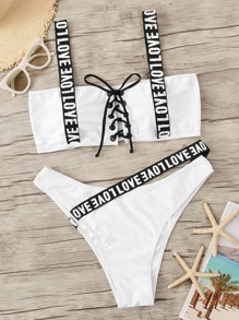 Plus Letter Tape Lace-up Top With High Leg Bikini