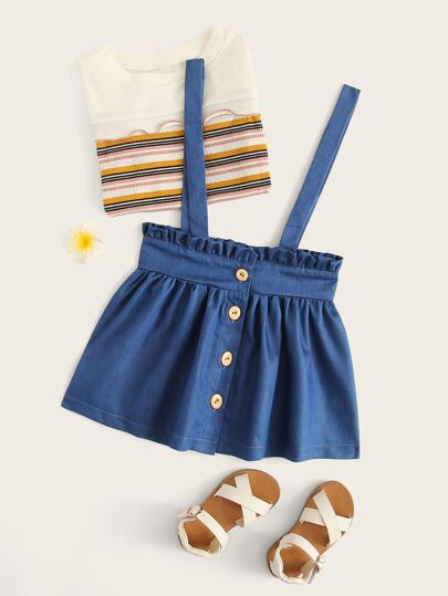 7babaf795759 Toddler Girls Button Front Frill Pinafore Skirt