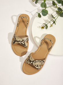 Snakeskin Pattern Criss Cross Flat Sandals