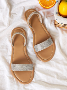 Rhinestone Decor Open Toe Flat Sandals