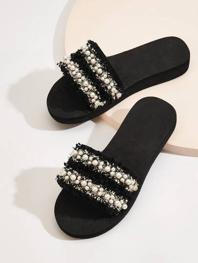 Faux Pearl Decor Tweed Flat Sliders