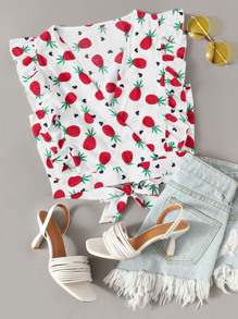 Strawberry Print Ruffle Trim Tie Back Crop Blouse