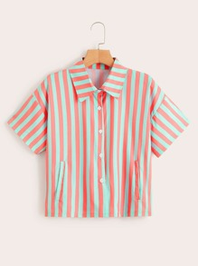 Striped Button Front Boxy Shirt