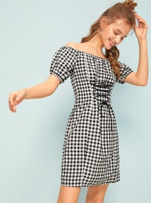 Gingham Lace-up Front Off Shoulder Dress
