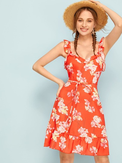 80e10c378 Vestido de tirante con cordón delantero ribete fruncido con estampado floral