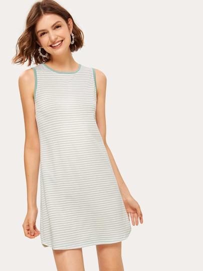 13ea0fbdd9e Striped Binding Trim Tank Dress