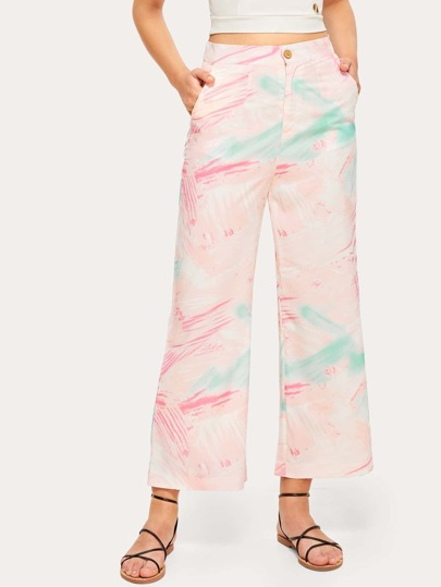 Button Waist Tie Dye Pants