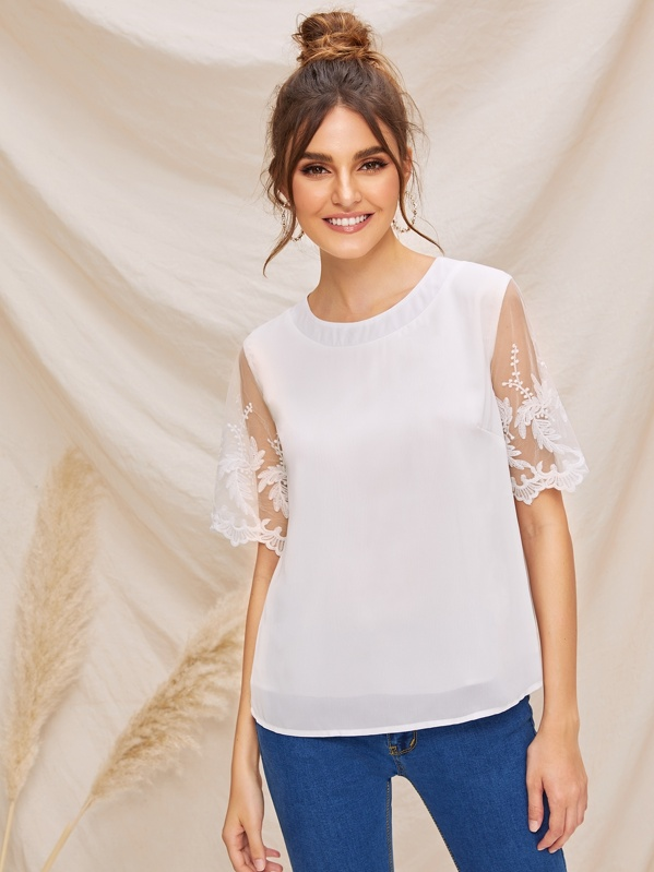 b03d2fb7830 Embroidered Mesh Sleeve Solid Top