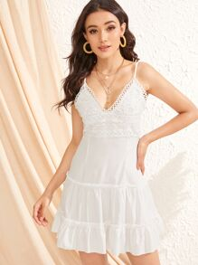 Lace Applique Layered Ruffle Slip Dress