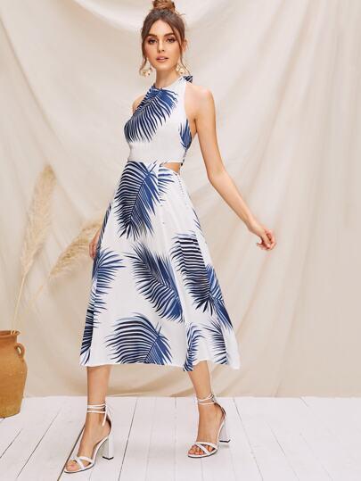 689bcb6fd9a10e Kleid mit Band, offener Rückseite, tropischem Muster und Neckholder