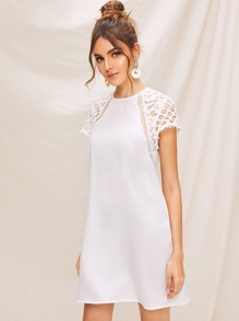 Guipure Lace Trim Keyhole Back Tunic Dress