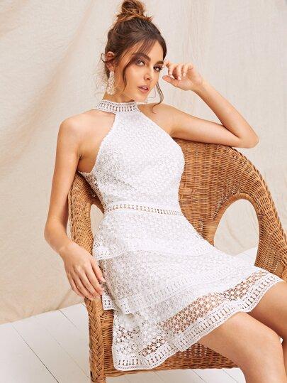 e2145c8662 Layered Ruffle Hem Sleeveless Guipure Lace Dress