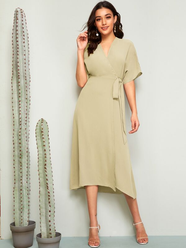 0965b7cd85 Batwing Sleeve Self Belted Wrap Dress