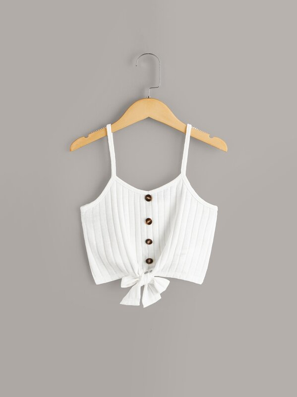 596b38007d09 Girls Button & Knot Front Ribbed Cami Top | SHEIN UK