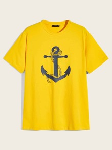 Men Anchor Print Top