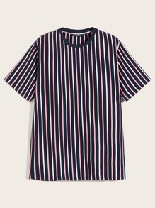 Men Round Neck Striped Tee