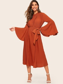 Frilled Neckline Flounce Sleeve Pleated Belted Hijab Dress