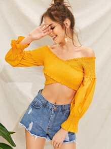 Flounce Sleeve Shirred Crop Blouse