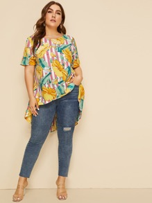 Plus Tropical and Striped Print Dip Hem Top