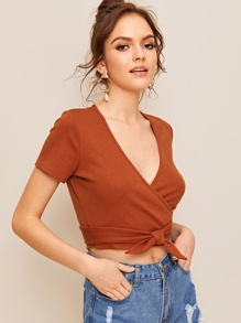 Plunging Neck Tie Front Wrap Blouse