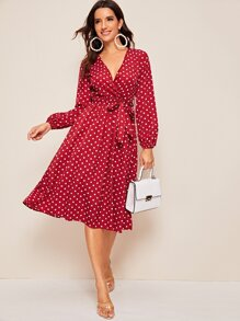 Polka Dot Print Belted Wrap Midi Dress
