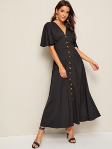 Solid Flutter Sleeve Button Front Tea Dress
