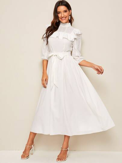 Mock-neck Ruffle Trim Self Belted Dress