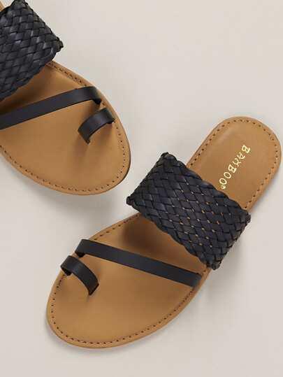 3ef6b0c22fad Wide Woven Band Toe Loop Flat Slide Sandals