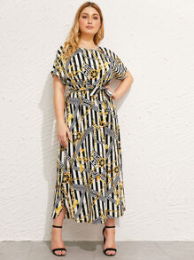 Plus Scarf Print Belted Dress