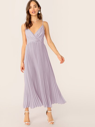 da6804a9bf7 Wrap Front Pleated Cami Dress