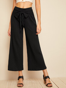 Solid Rib-knit Belted Wide Leg Pants