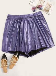 Plus Wide Waistband Metallic Shorts