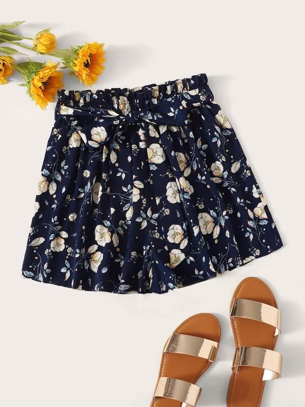 737fc7664fd3 Shorts anchos con estampado floral de margarita de cintura con volante