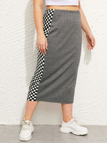 Plus Checkered Panel Pencil Skirt
