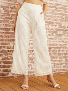 SBetro Wide Waistband Schiffy Wide Leg Pants