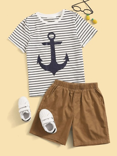Boys Anchor Print Striped Tee & Shorts Set