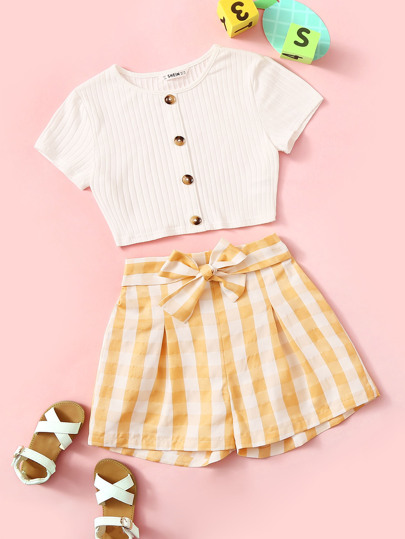 0367f7fd5 Girls Button Up Ribbed Tee & Belted Gingham Shorts Set