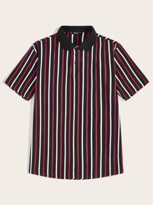 Men Solid Collar Striped Polo Shirt