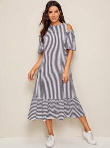 Cold Shoulder Flounce Hem Striped Dress