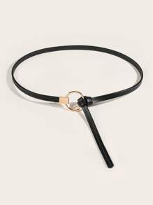 Round Buckle Self Tie Skinny Belt