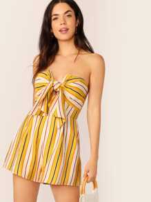 Tie Front Striped Tube Jumpsuit