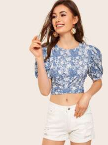 Floral Print Tie Back Puff Sleeve Crop Blouse