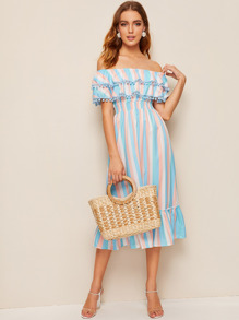 Off The Shoulder Pom Pom Ruffle Hem Dress