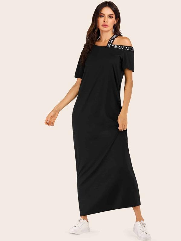 d4ecd51259e Letter Tape Open Shoulder Maxi T-shirt Dress | SHEIN